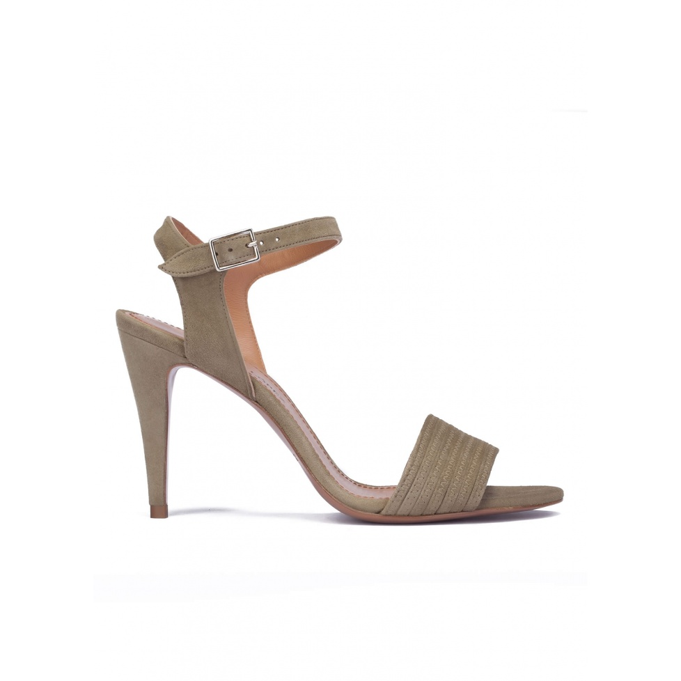 Kaki suede ankle strap high heel sandals