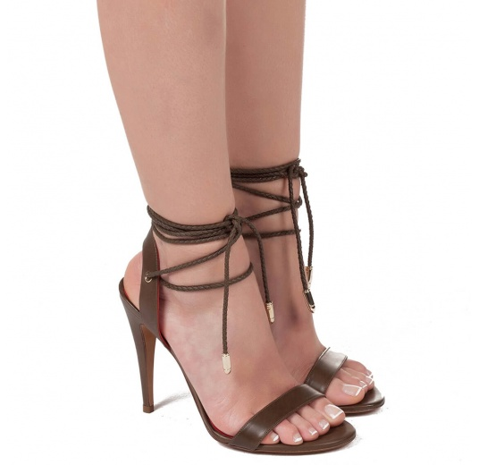 Lace-up high heel sandals in kaki leather Pura L�pez