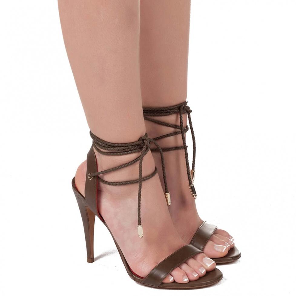 High heel sandals in kaki leather - online shoe store Pura Lopez