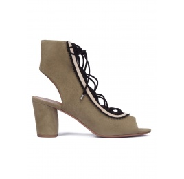 Kaki lace-up mid block heel sandals Pura López