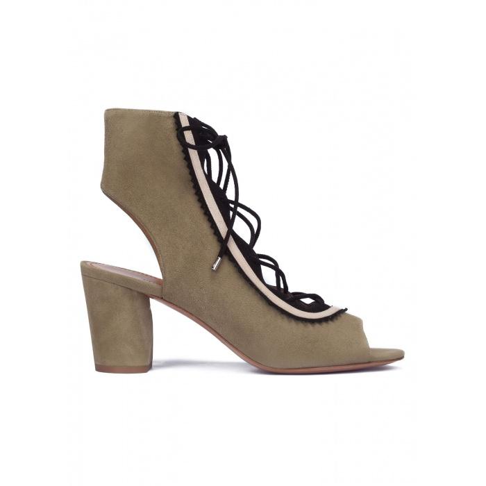 Kaki lace-up mid block heel sandals