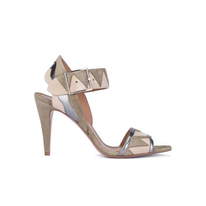 Suede and leather high heel sandals