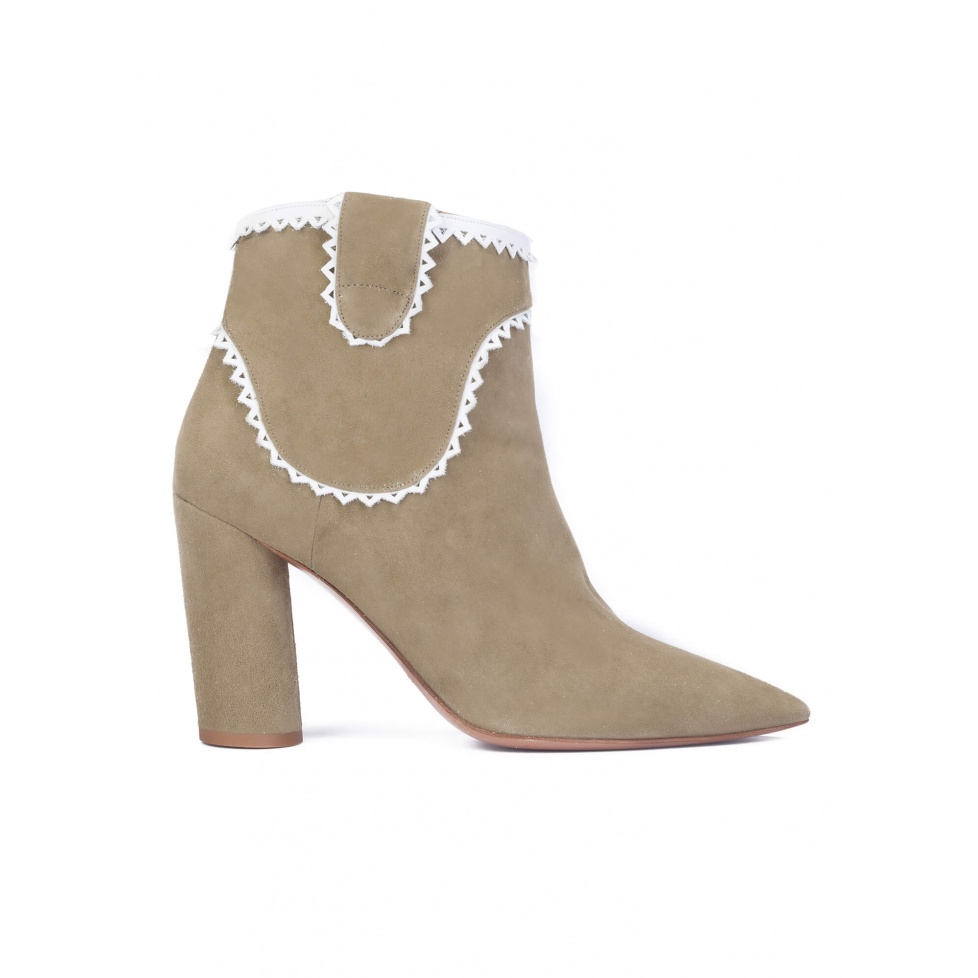 Kaki suede heeled ankle boots