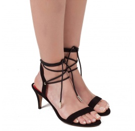 Lace-up mid heel sandals in black suede Pura López