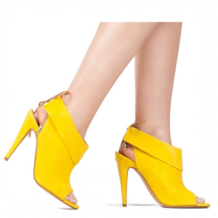 High heel sandals in yellow suede - online shoe store Pura Lopez