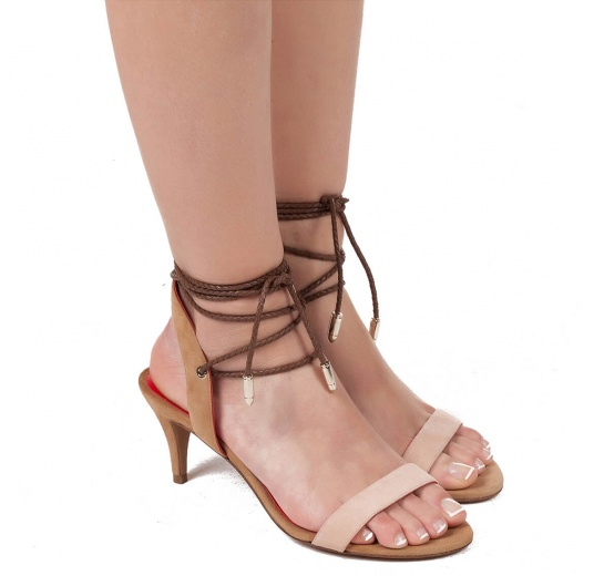 Lace-up mid heel sandals in two-tone suede Pura L�pez