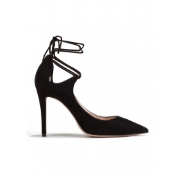 Lace up high heel pumps in black suede Pura López
