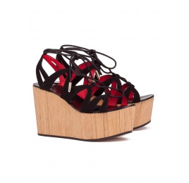 Lace-up wood wedge sandals in black suede Pura López
