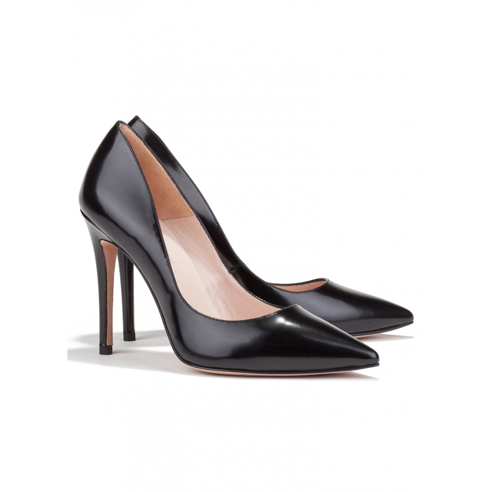 High heel pumps in black leather - online shoe store Pura Lopez