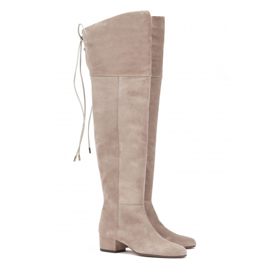 Over-the-knee low heel boots in taupe suede Pura L�pez