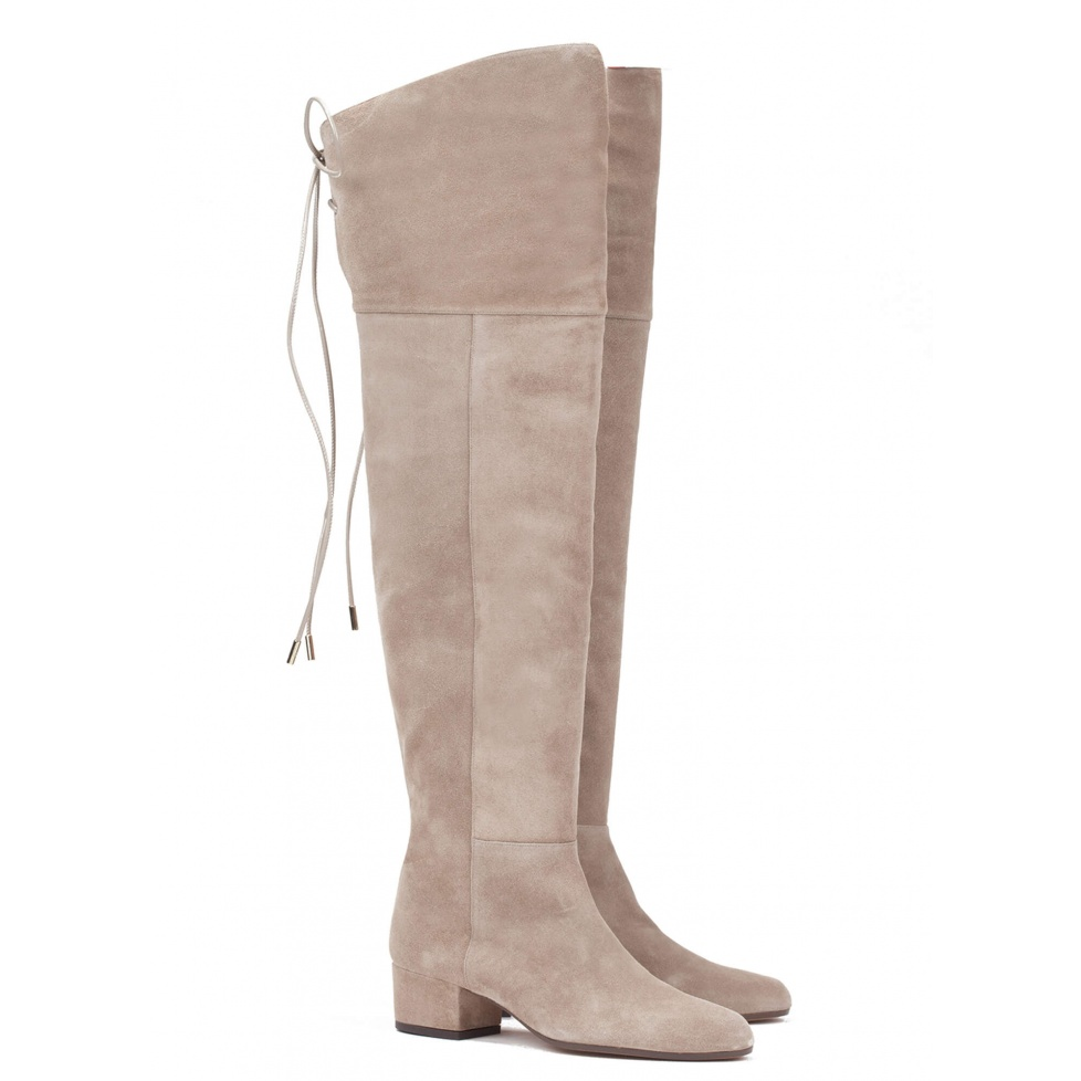 Low heel boot in taupe suede - online shoe store Pura Lopez