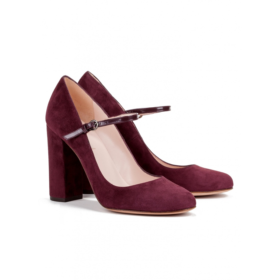 High heel shoes in burgundy suede - online shoe store Pura Lopez