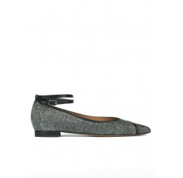 Ankle strap pointy toe flat shoes in metallic fabric Pura López
