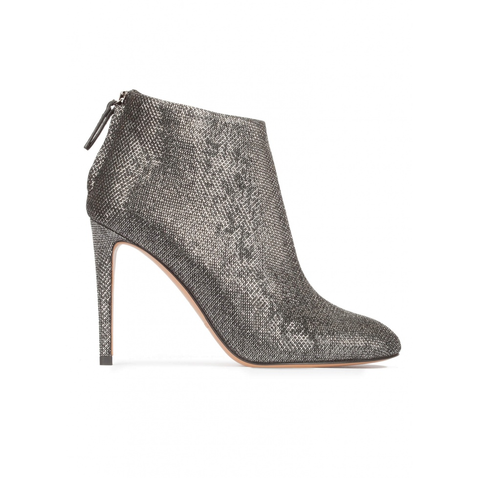 High stiletto heel ankle boots in metallic fabric