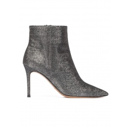 Metallic high heel point-toe ankle boots in chain-pattern fabric Pura López
