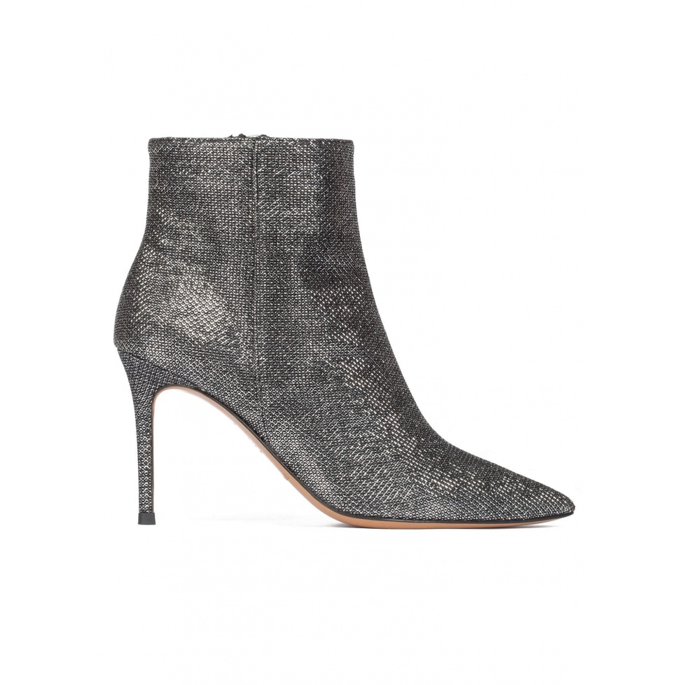 Metallic high heel point-toe ankle boots in chain-pattern fabric