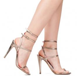 Ankle strap high heel sandals in platin metallic leather Pura López