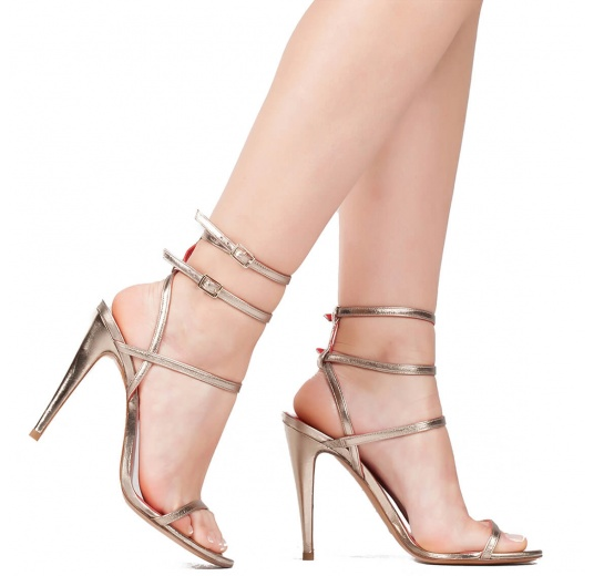 Ankle strap high heel sandals in platin metallic leather Pura L�pez