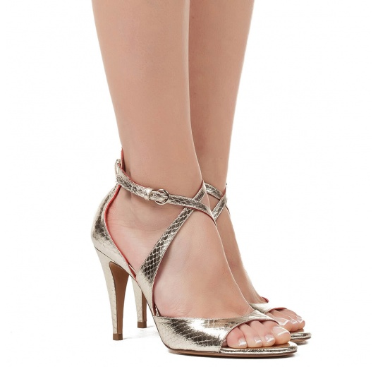 Strappy high heel sandals in platin metallic snake leather Pura L�pez