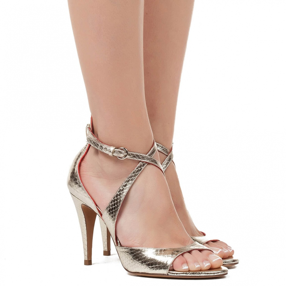 High heel sandal in metallic leather - online store Pura Lopez