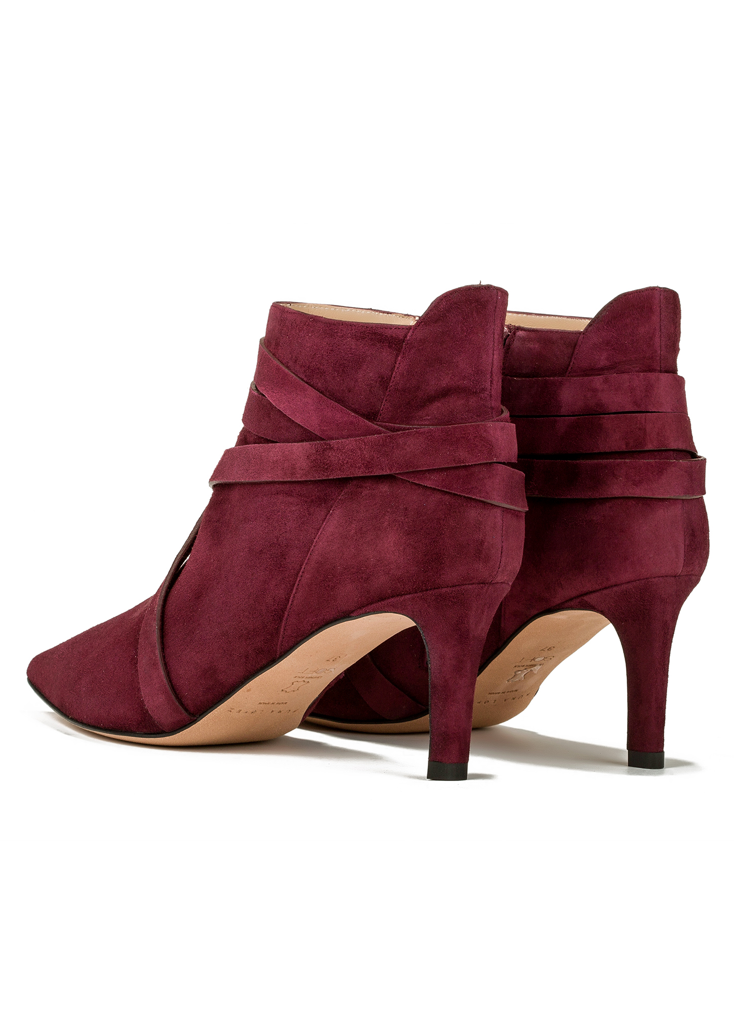 mid heel ankle boots in burgundy suede shoe store
