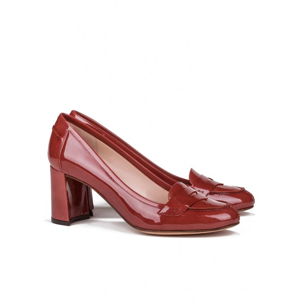 Mid heel shoes in reddish brown patent-online shoe store Pura Lopez