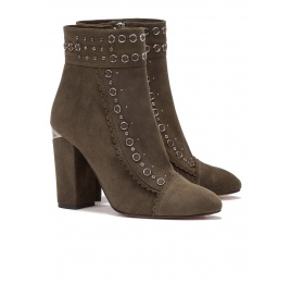 Studded high block heel ankle boots in military green suede Pura López