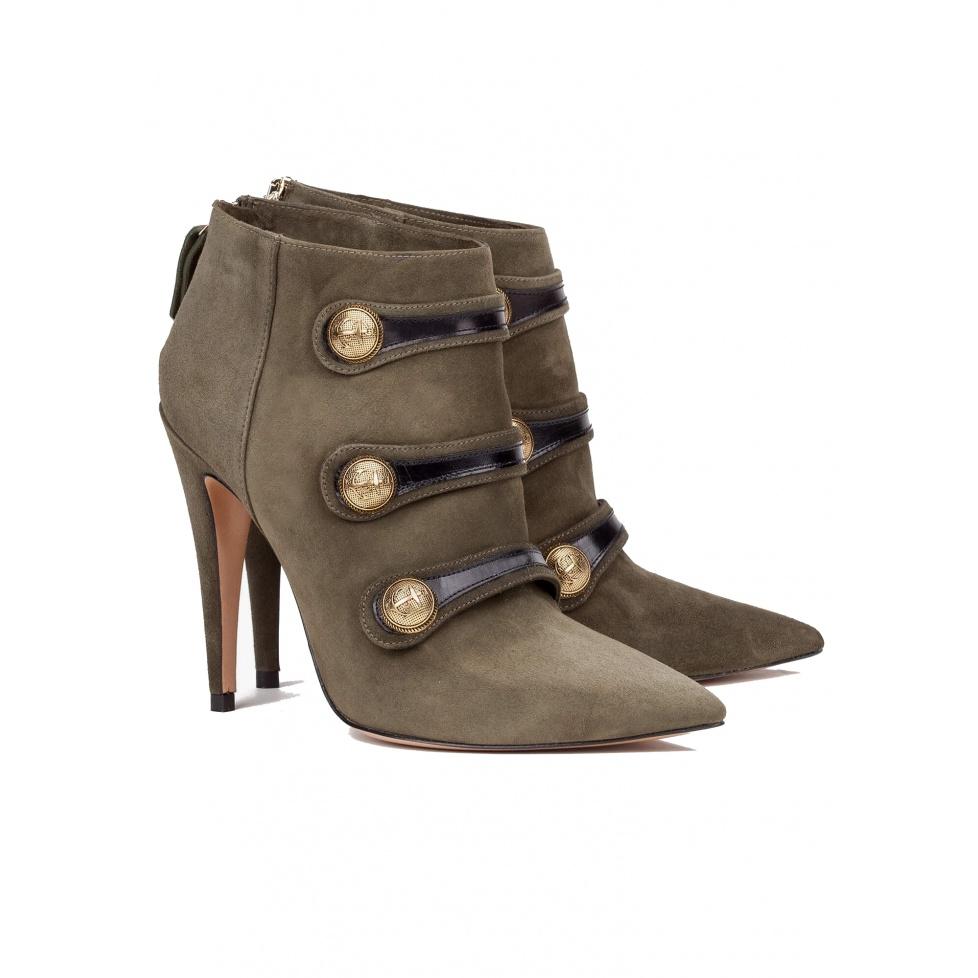 Botines verdes de tacón alto - tienda de zapatos Pura López