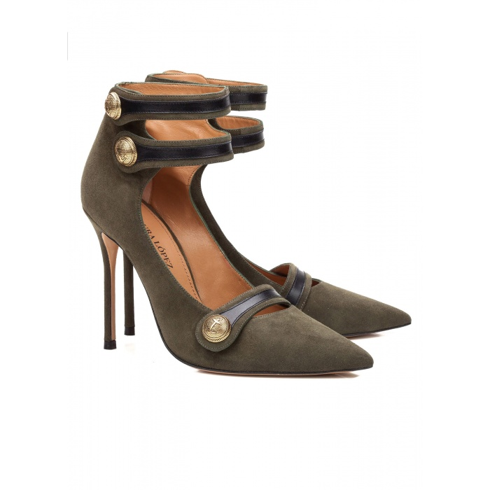 Green button high heel shoes - online shoe store Pura Lopez