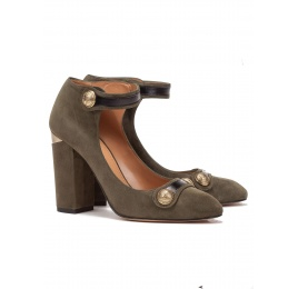 Ankle strap high block heel shoes in military green suede Pura López