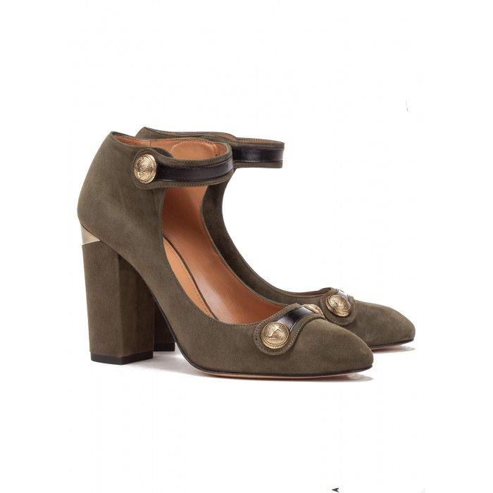 Green ankle strap high heel shoes - online shoe store Pura Lopez