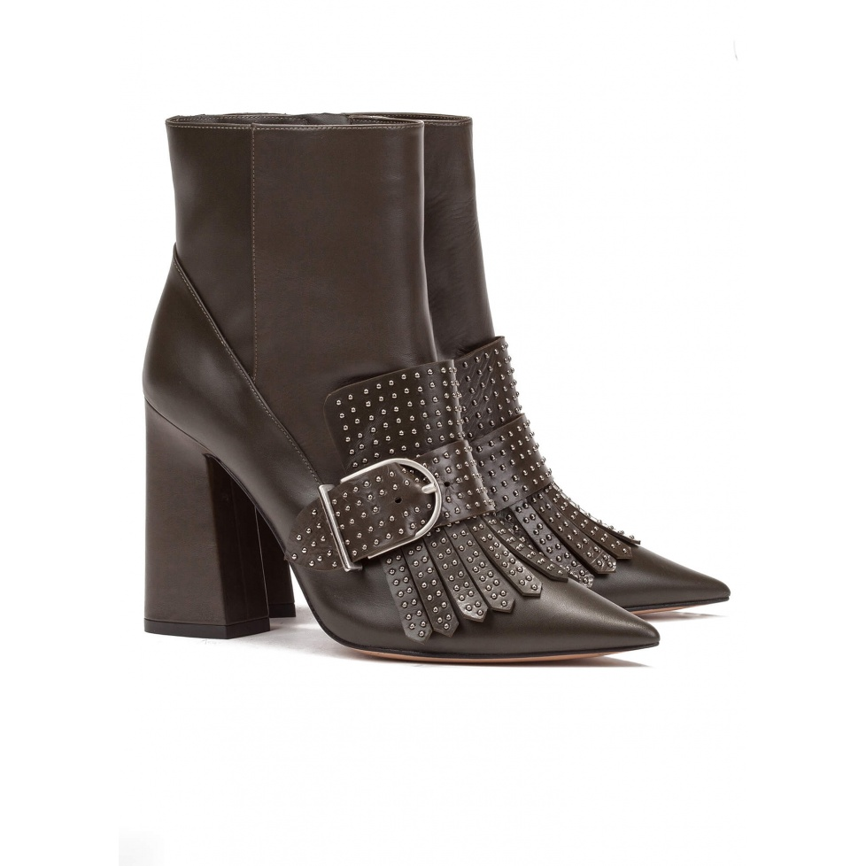 High block heel ankle boots in kaky - online shoe store Pura Lopez