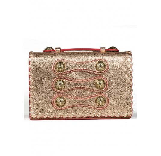 Button detailed mini bag in metallic leather Pura L�pez