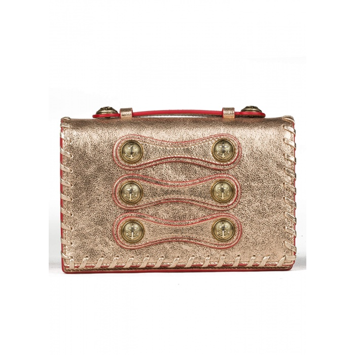 Button detailed mini bag in metallic leather