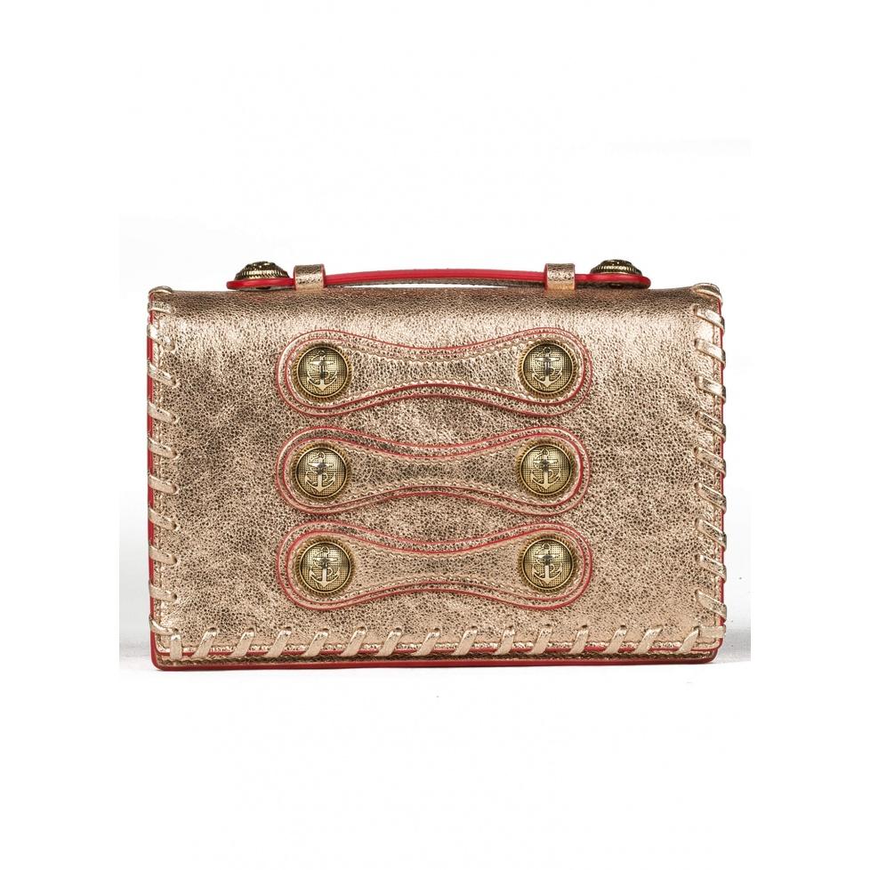 Button detailed mini bag in metallic leather