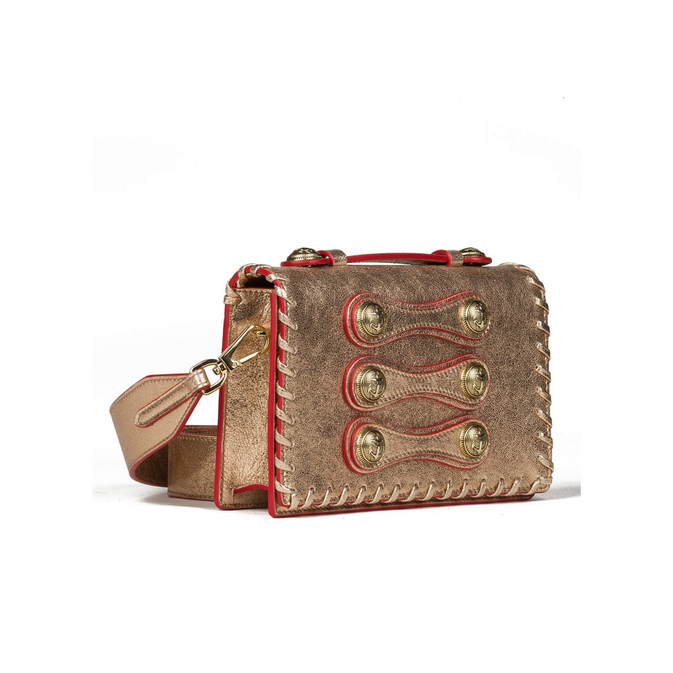 Gold button detailed shoulder bag - Official Store Pura Lopez