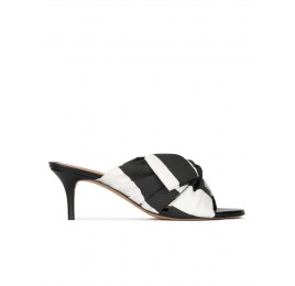 Bow detailed mid heel mules in black and white fabric Pura López