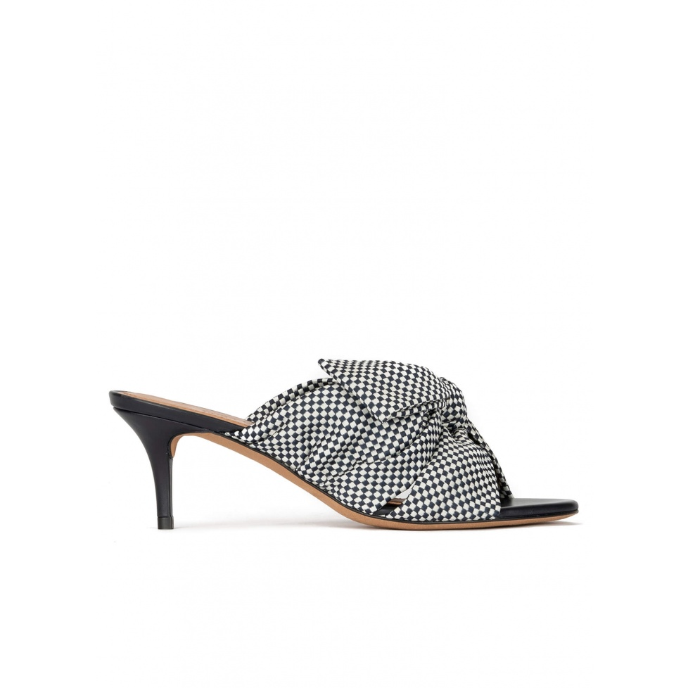 Bow detailed mid heel mules in white and blue checked fabric