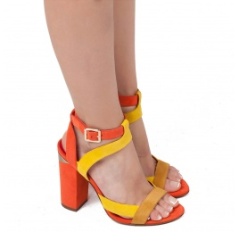 Strappy high chunky heel sandals in multicolored suede Pura López