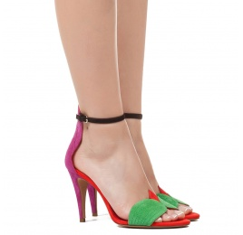 Ankle strap high heel sandals in multicolored suede Pura López