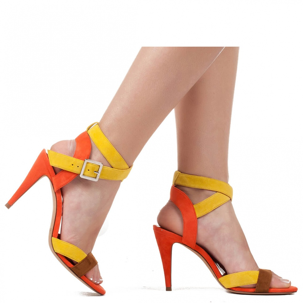 Multicolored suede high heel sandals - online shoe store Pura Lopez