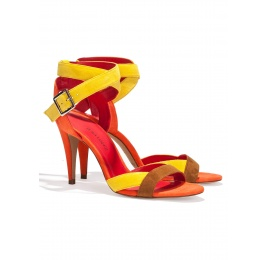 Strappy high heel sandals in multicolored suede Pura López