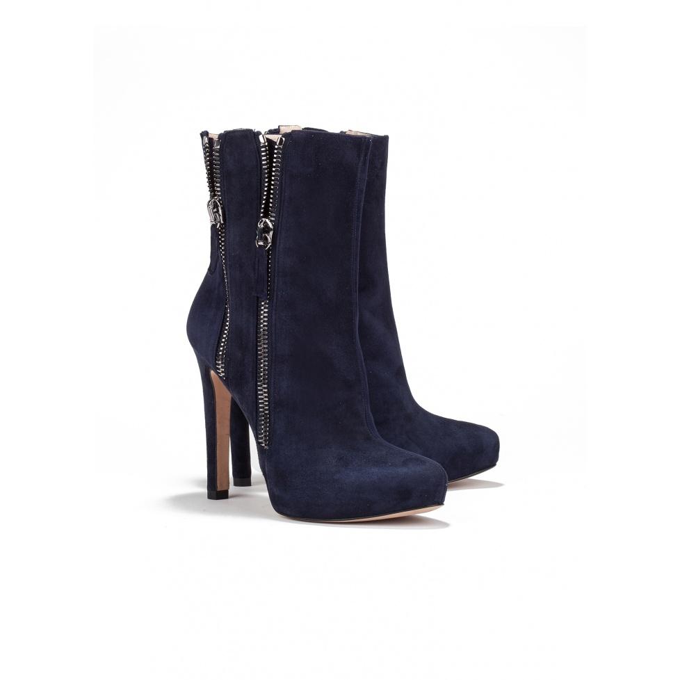 High heel ankle boots in navy suede - online shoe store Pura Lopez