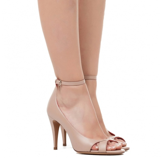 Ankle strap high heel sandals in nude leather Pura L�pez