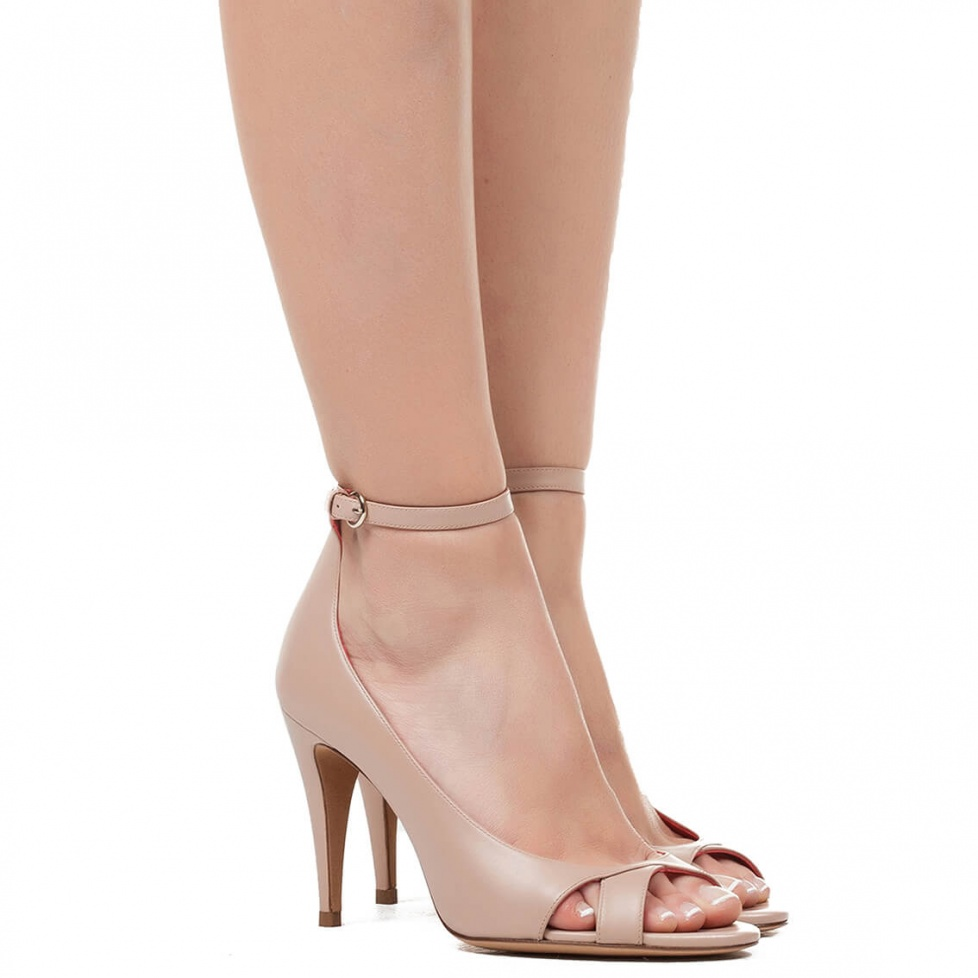High heel sandals in nude leather - online shoe store Pura Lopez