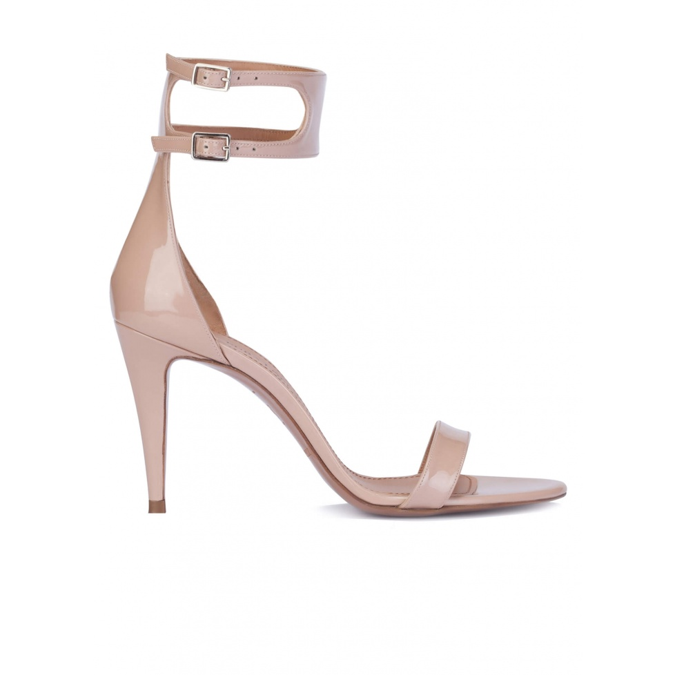 Nude patent ankle strap heeled sandals