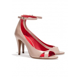 Ankle strap high heel sandals in nude leather Pura López