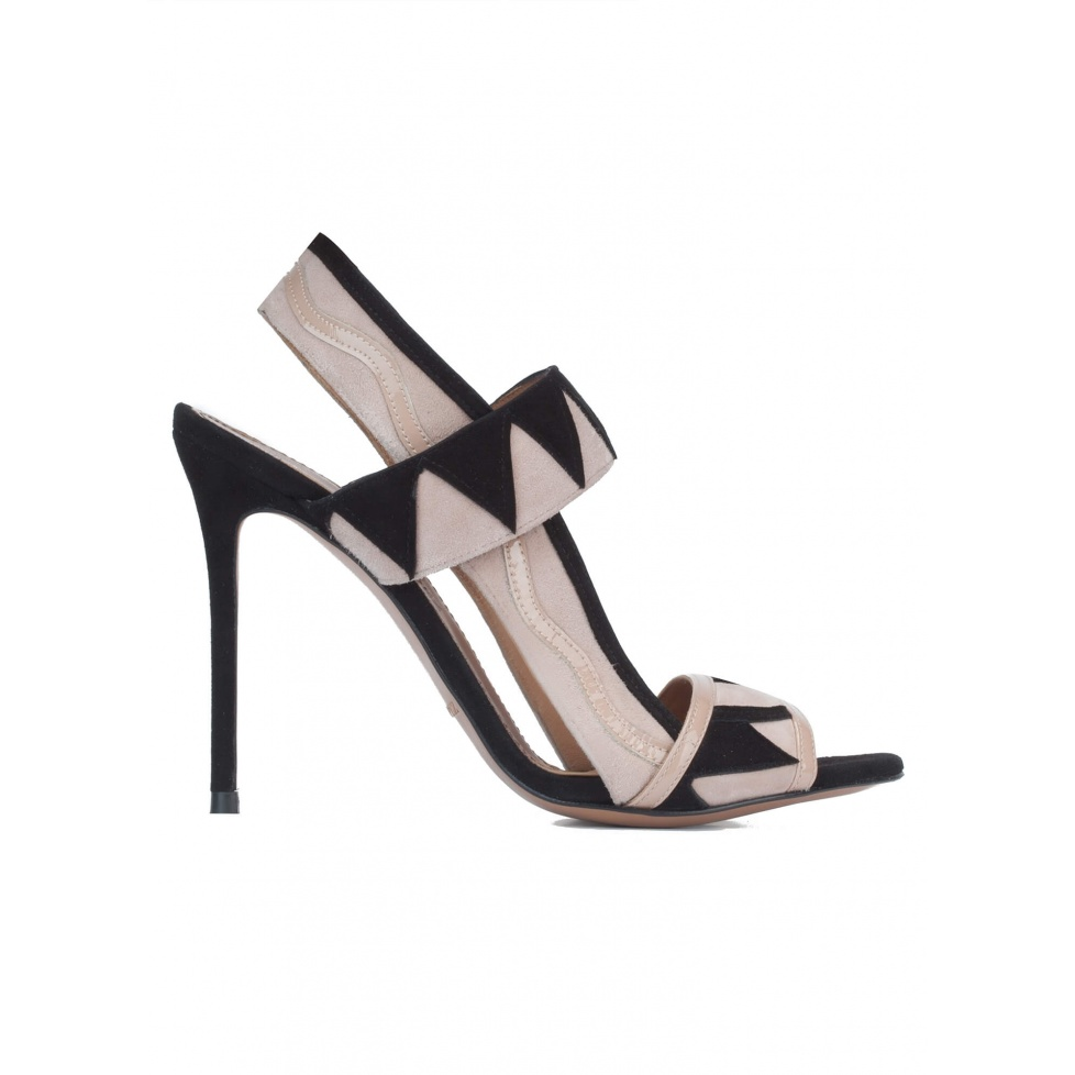 High heel sandals in black and nude suede