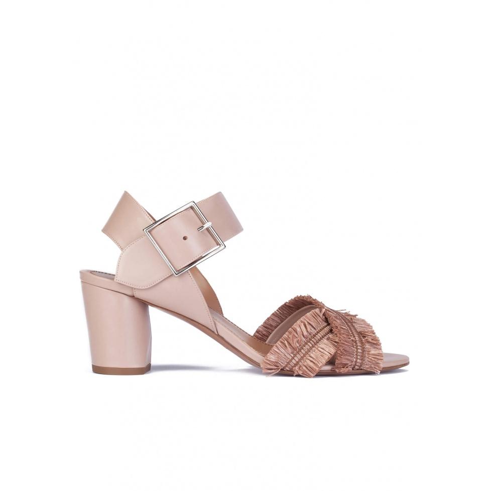 Nude fringed mid block heel sandals