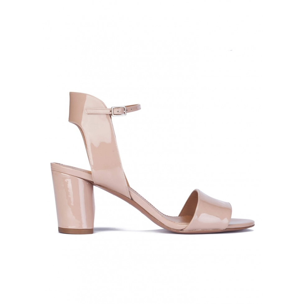 Nude patent leather mid block heel sandals